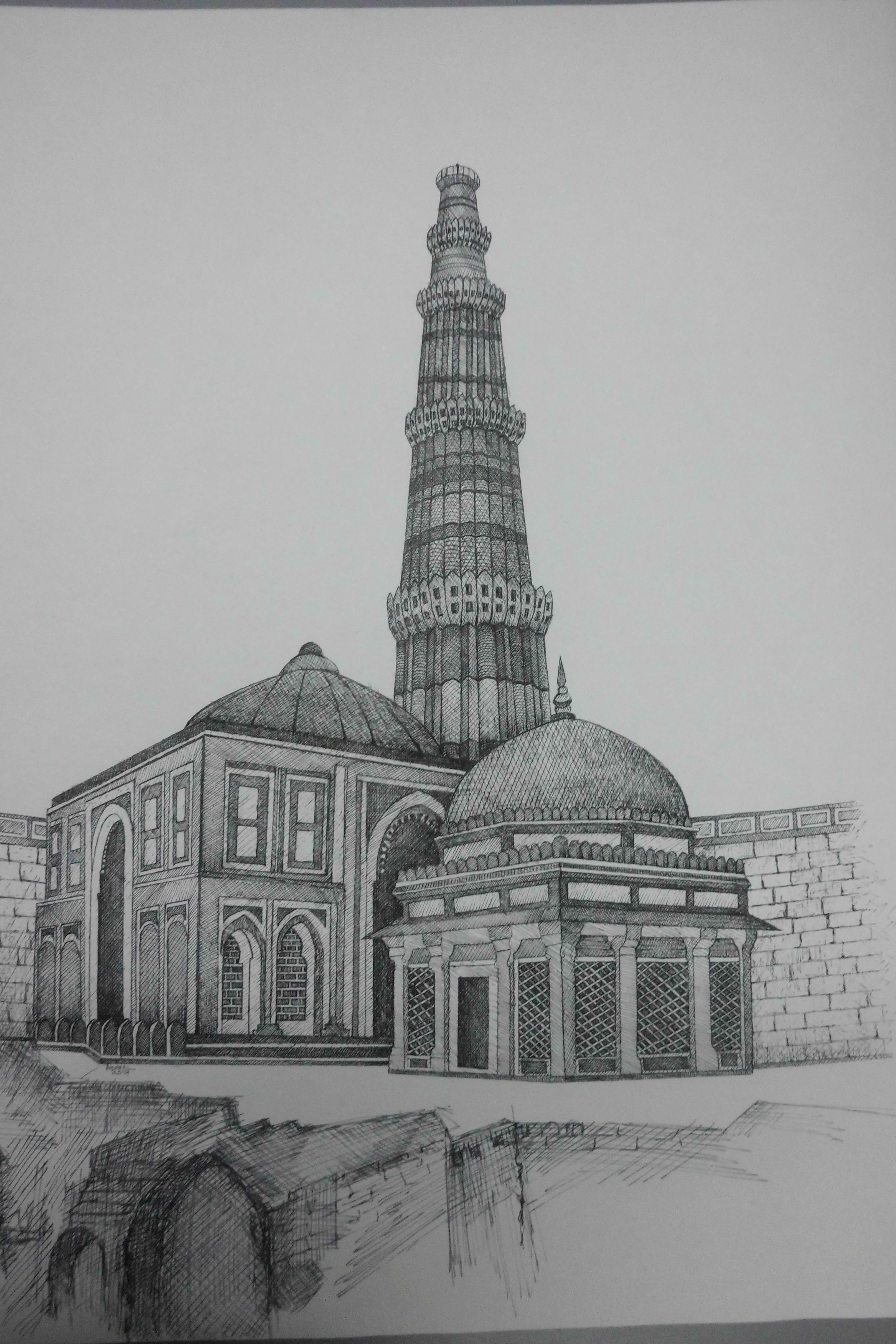 Qutub minar outline drawings pencil drawings drawing tips drawing reference painting