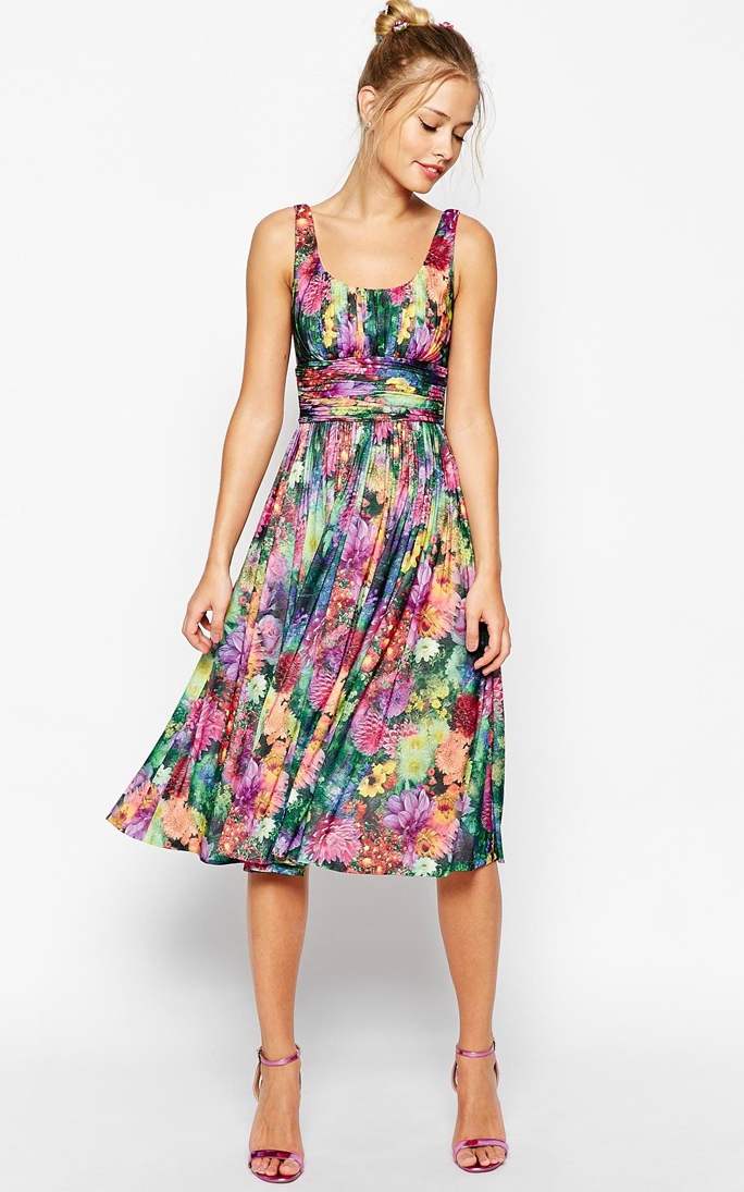 floral midi dress for spring wedding guests  wedding