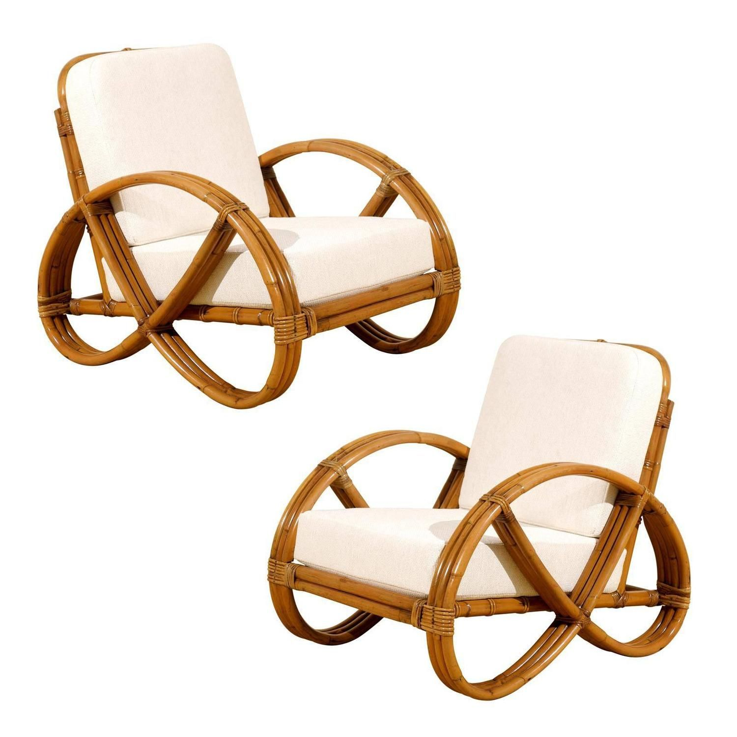 Pretzel Chair Restored Pair Of Vintage Rattan Pretzel Lounge Chairs