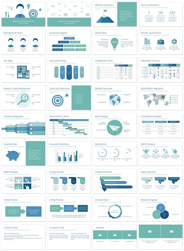 Business Plan PowerPoint Template Business Planning Flat Design - Powerpoint business plan template
