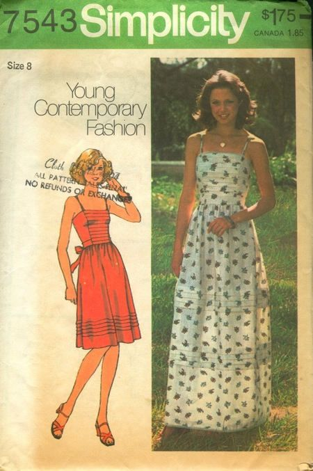 768864a40585 Simplicity 7543 Young Contemporary Fashion Misses  Dress
