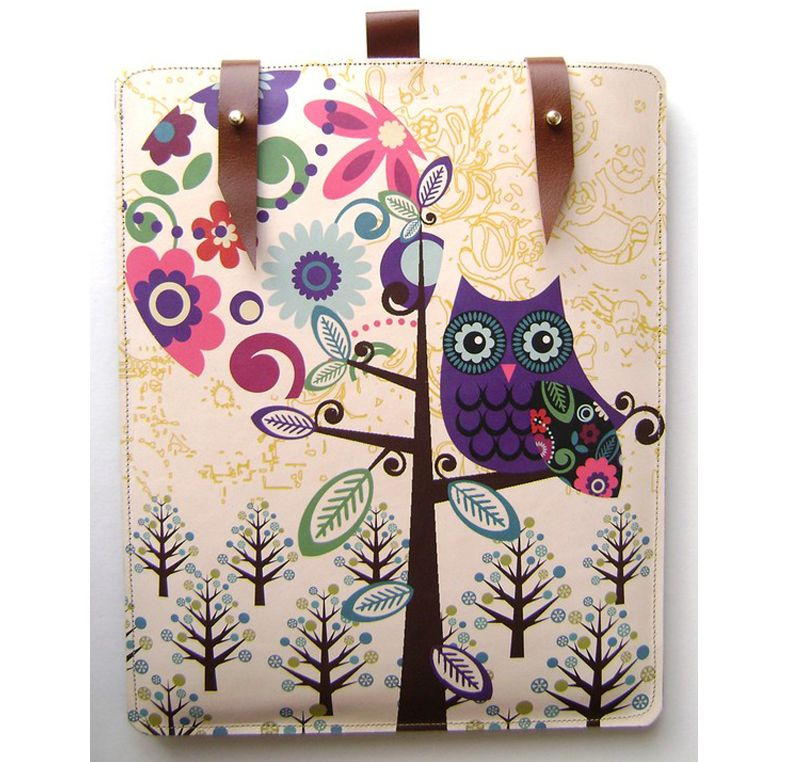 Leather iPad / Kindle Case (Owl & Moon Design) from Etsy
