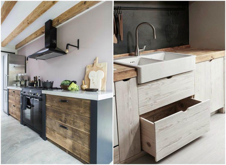 Wohnideen Industrial Look moderne küche altholz schwarz industrial look wohnideen küche