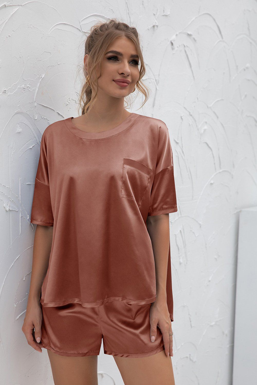Short Sleeve and Pants Set - Light Orange / XL