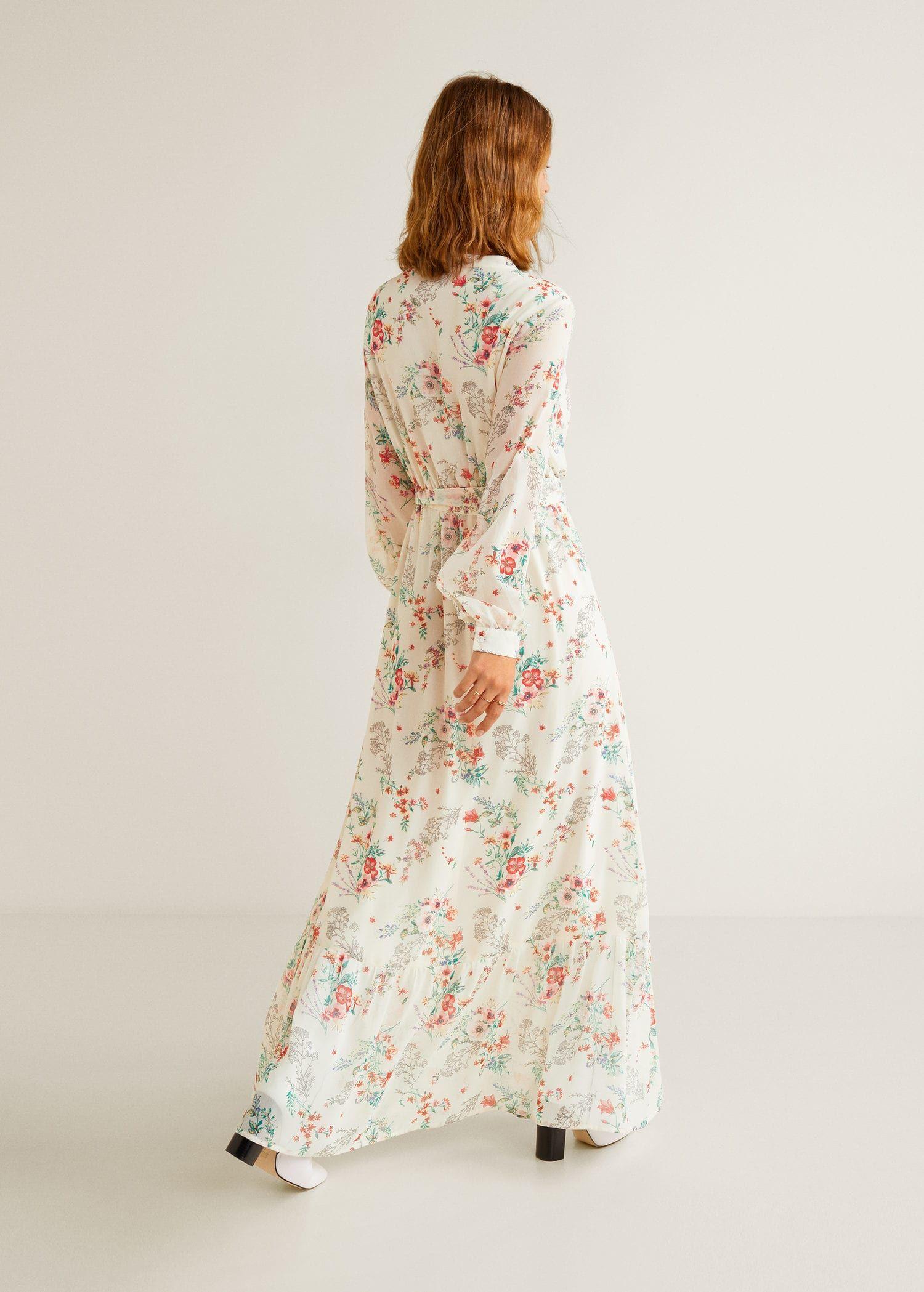 lange jurk met bloemen - dames | mango nederland | lange