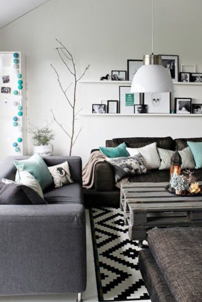White Black Gray Turquoise Simple Modern Minimal Boho Rustic Living Room Color Living Room Grey Room Inspiration