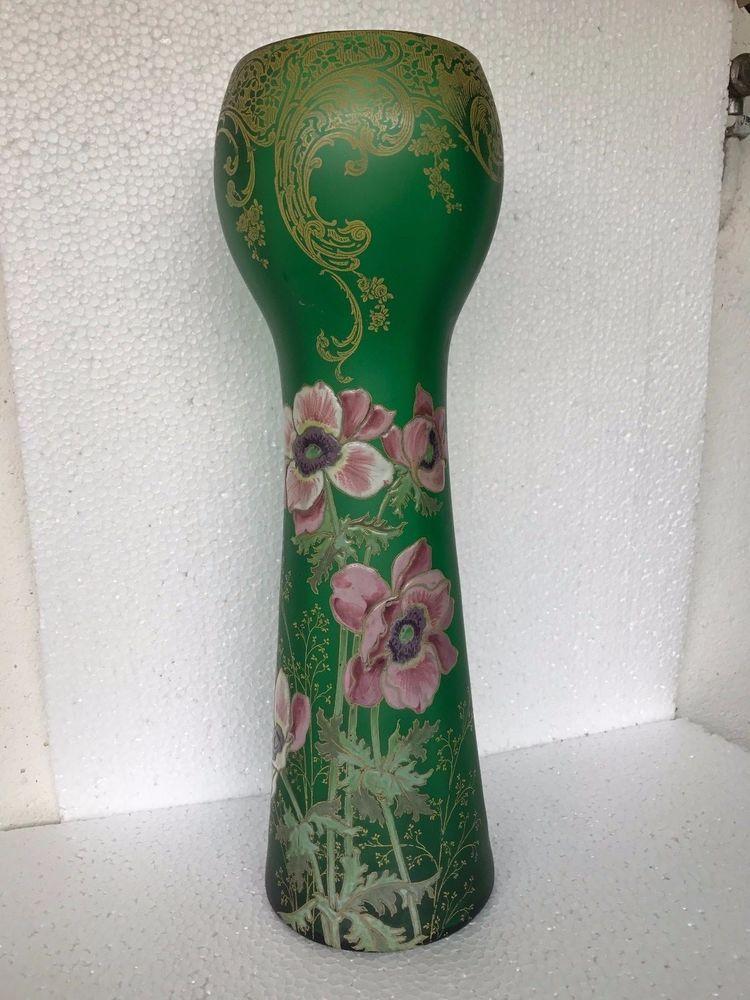 ancien grand vase verre emaill legras epoque 1900 parfait etat h 41 cm. Black Bedroom Furniture Sets. Home Design Ideas