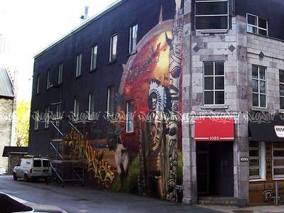 Détail dune des deux murales dArpi pour le restaurant Briskets