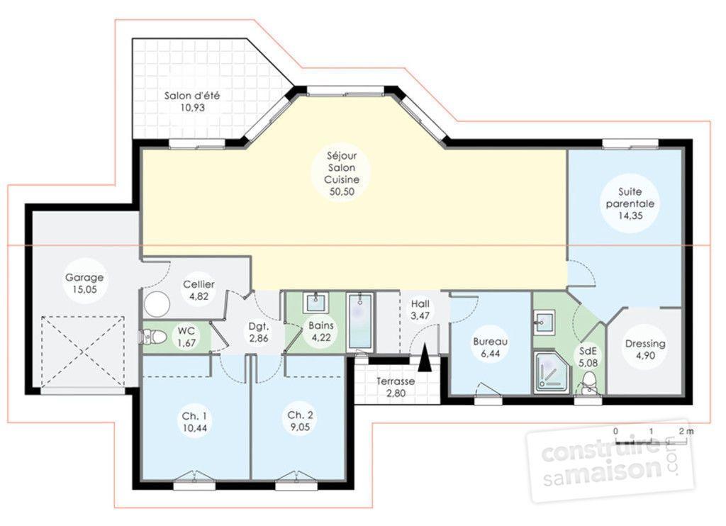 Maison de plainpied 1 Villas - plan de maison de 100m2 plein pied