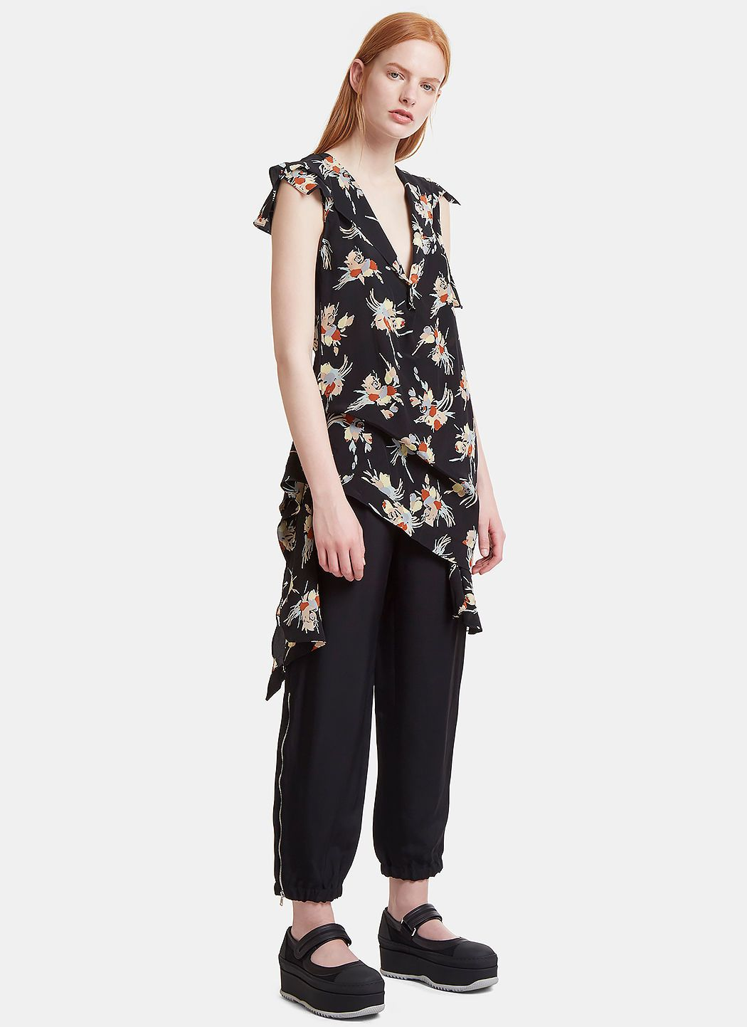 Marni Woman Ruched Floral-print Silk-twill Top Black Size 36 Marni Outlet With Mastercard Factory Outlet 2018 Unisex Cheap Online Sale Footlocker Finishline WWH3fO
