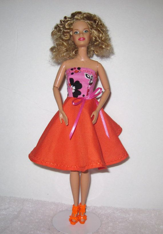 Orange and Pink/Black Flowred Barbie Doll Dress by TKHobbies, $3.00