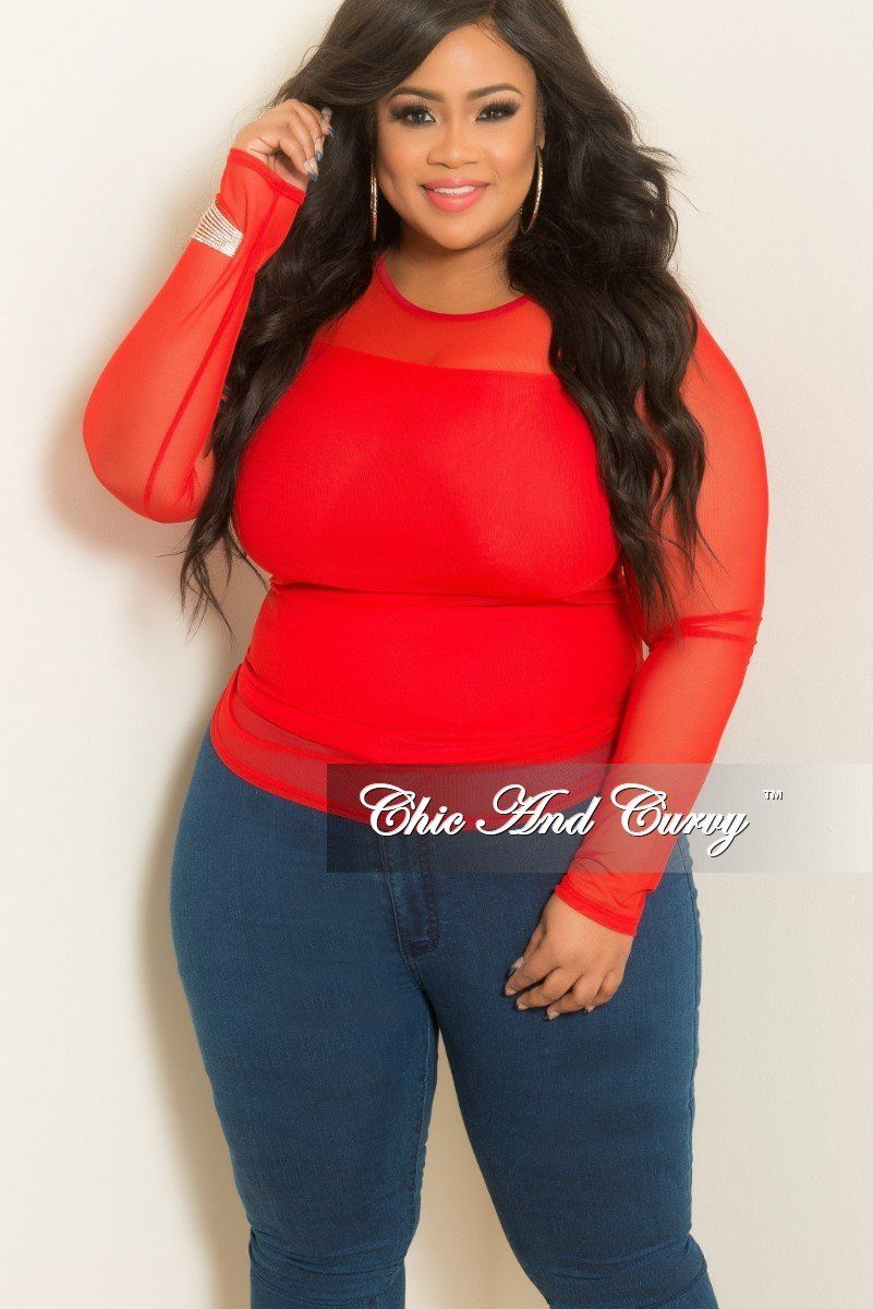 83af7aaa993f Final Sale Plus Size Sheer Top with Long Sleeves in Red in 2019 ...