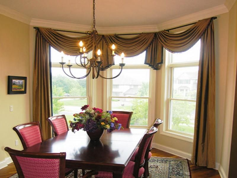 Dining Room Small Picture Beside Slide Window Plus Calm Curtains And Flower Centerpiece