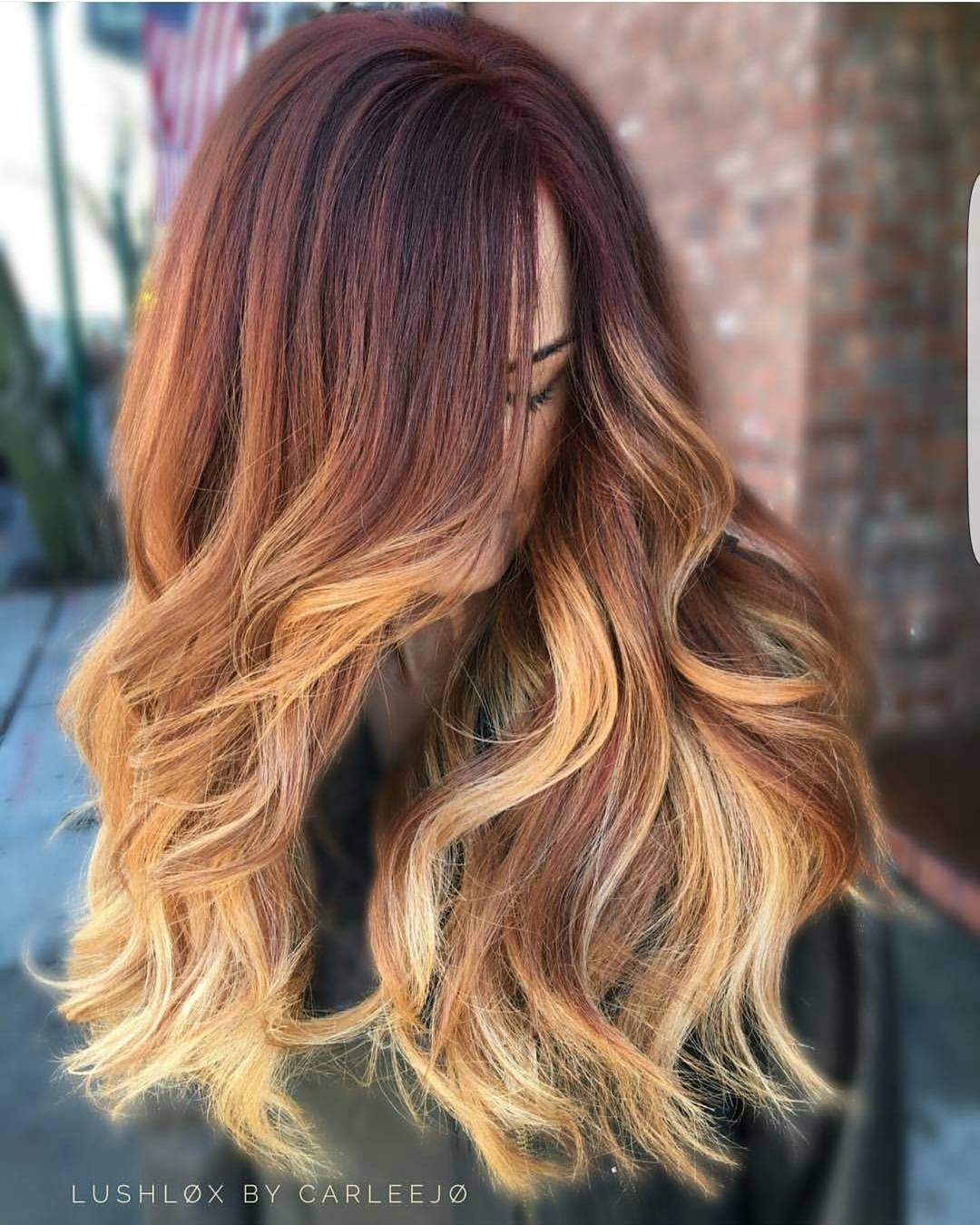 Auburn To Blonde Ombre Hair Diddies In 2019 Pinterest Hair