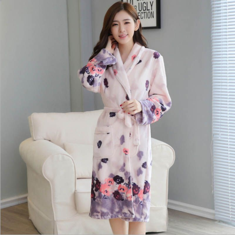 512b9bfb75 Thickening Flannel Winter Robe Sexy Robes For Women Bathrobe Dressing Gowns  For Women Bathrobes Peignoir Femme Soie Albornoz