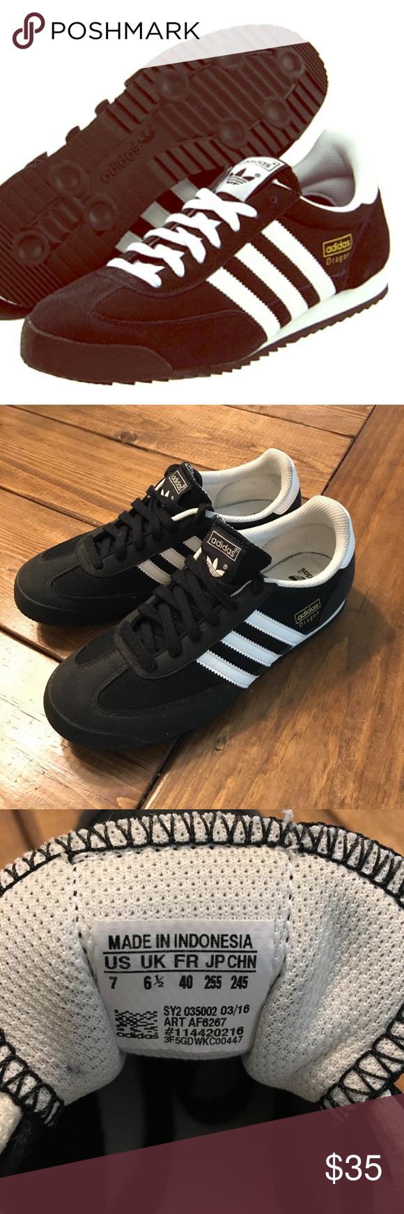 Adidas Dragon  mujer 's tamaño 7 en el clasico negro adidas, deportivo