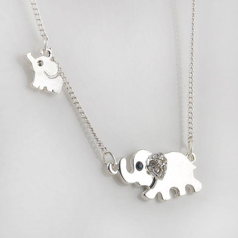 Funkelnden Glück Gold Doppel Elefanten Spaziergang Design Anhänger Halskette Punk Aussage Halskette Frauen Schmuck P1203