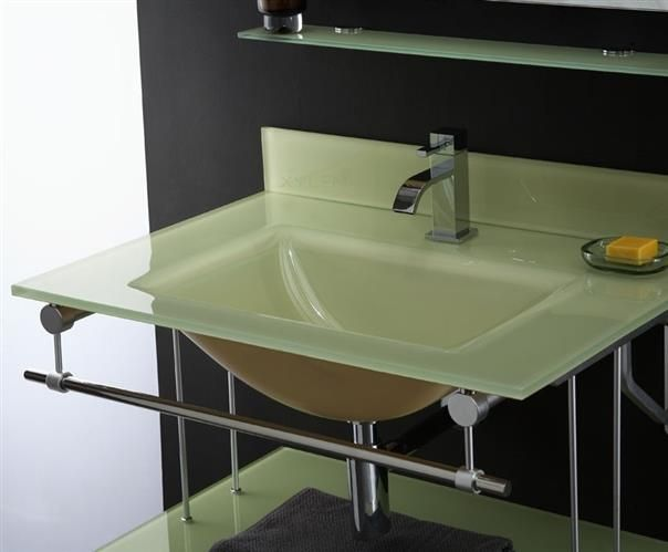 Delightful Xylem Yellow Glass Vanity Top And Integrated Rectangular Bowl GSTXXXYW.  H1Xylem Yellow Glass Vanity Top