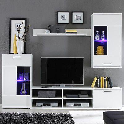 Ebay Angebot Wohnwand Frontal Wohnzimmer Anbauwand in weiß - wohnwand wei modern