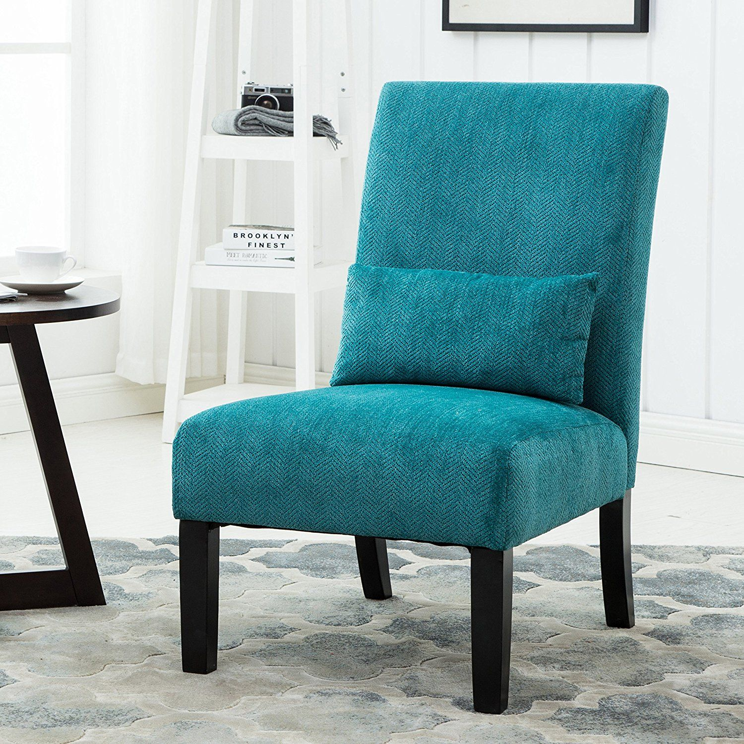 Amazon Com Roundhill Furniture Pisano Teal Blue Fabric Armless