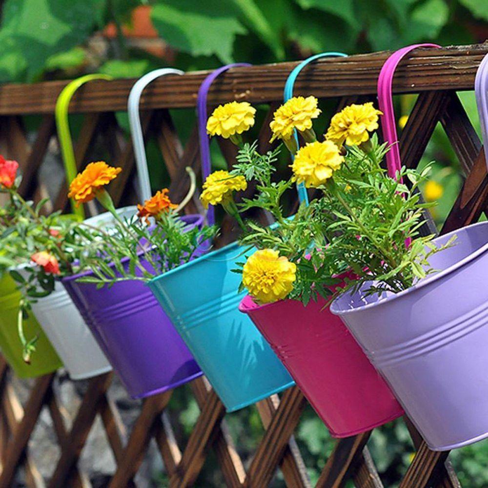 10x Home Garden Balcony Metal Flower Pastoral Plant Pots