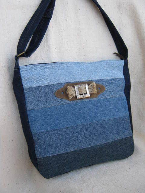 Flóra táska -  farmer anyagból, Táska, Ruha, divat, cipő, Válltáska, oldaltáska, Női ruha, Meska