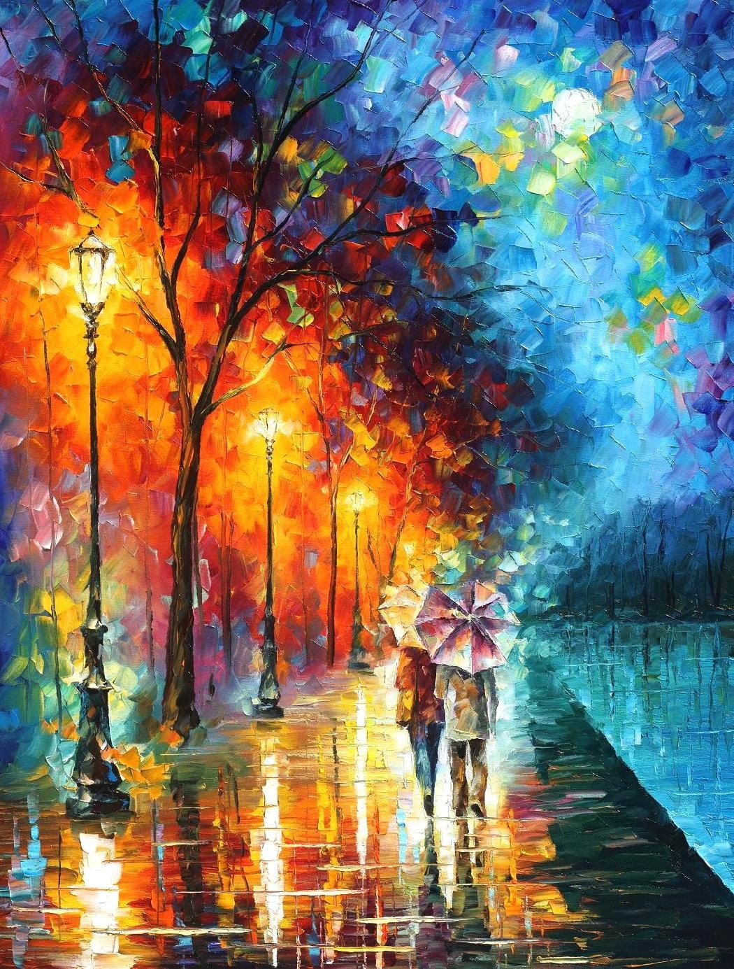 """Original Recreation Oil Painting on Canvas This is the best possible quality of recreation made by Leonid Afremov in person.  Title: Love by the lake Size: 30"""" x 40"""" (75cm x 100cm) Condition: Excellent Brand new Gallery Estimated Value: $14,500 Type: Original Recreation Oil Painting on Can..."""
