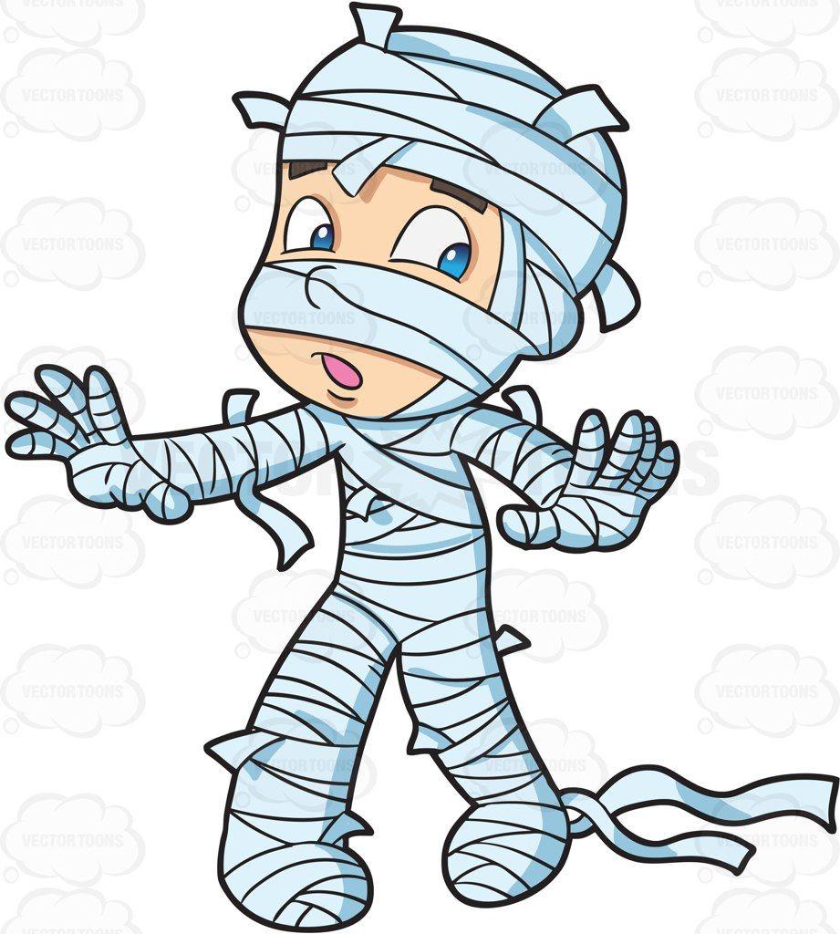 A Boy Wrapped In Muslin Pretending To Be A Mummy Cartoon Clip Art Mummy Party Stock Art