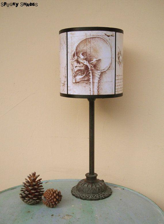 Skull lamp shade lampshade leonardo da vinci by spooky shades skull lamp shade lampshade leonardo da vinci by spooky shades lighting steampunk anatomy macabre dark decor da vinci gift unique aloadofball Image collections
