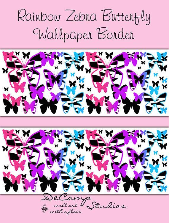 RAINBOW ZEBRA BUTTERFLY Animal Print Wallpaper Border Wall Decals ...