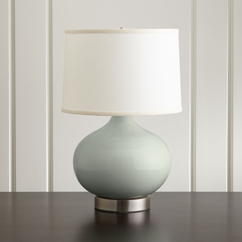 Merie Blue Table Lamp With Nickel Outlet Base Crate And Barrel