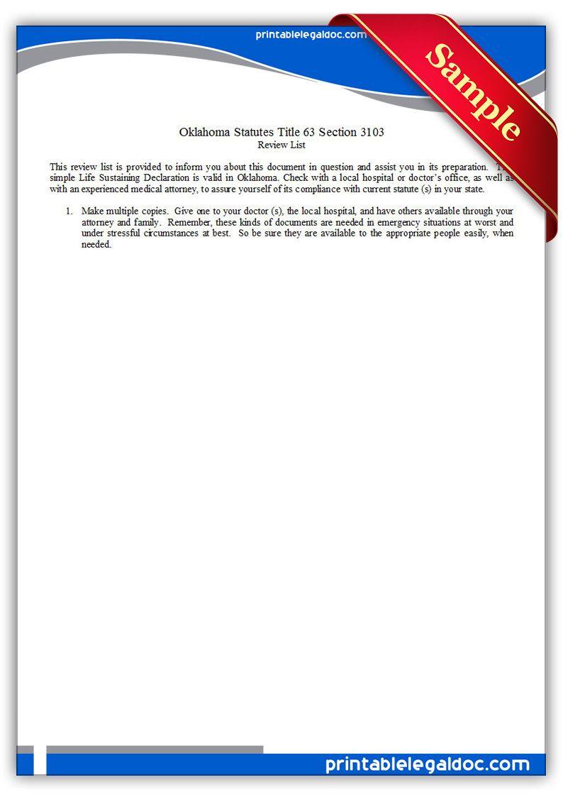 Free Printable Life Sustaining Statute Oklahoma Legal Forms
