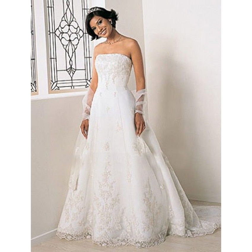 A-line Strapless Lace/Appliques Cathedral Train Elegant Natural Lace Wedding Dresses - Discount Wedding Dresses - Wedding Dresses