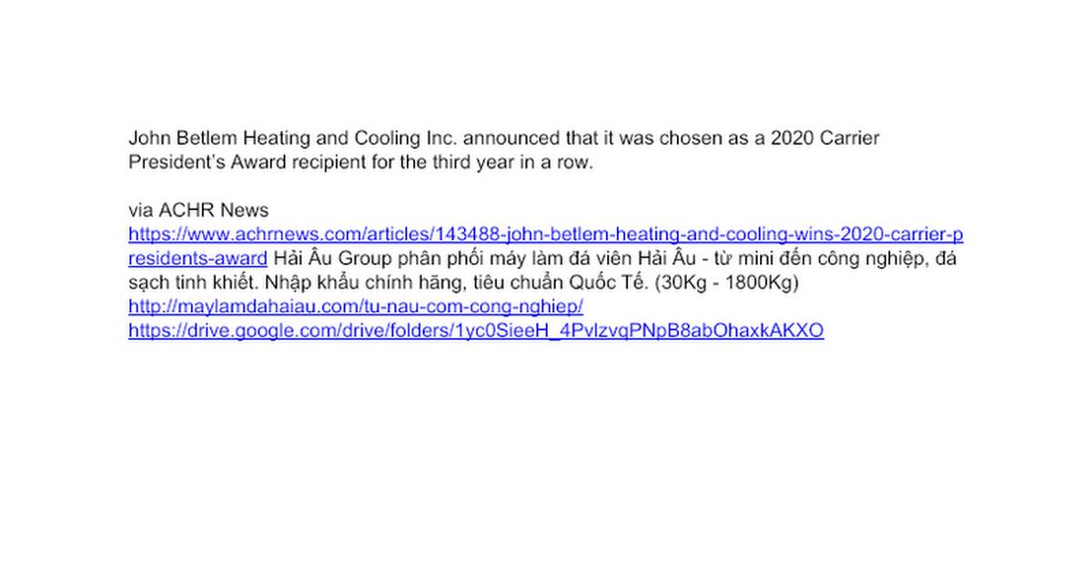 John Betlem Heating And Cooling Wins 2020 Carrier Presidents Award