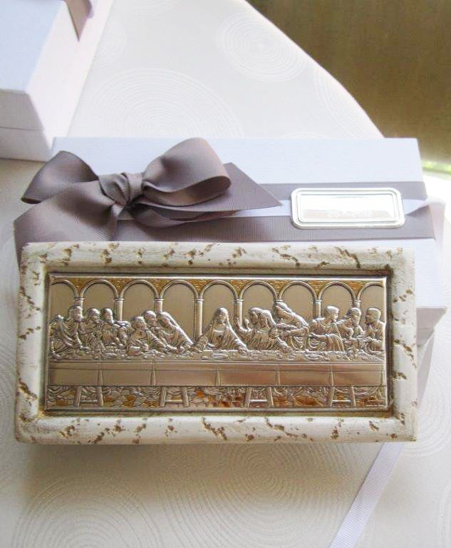 The Last Supper silver plaque in stone frame | First Communion ...