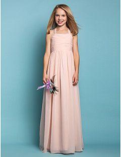 88716b90ea324 Sheath/Column Halter Chiffon Junior Bridesmaid Dress (551546... – USD $  49.99