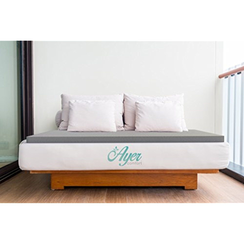 ayer comfort 3 inch graphite memory foam mattress topper made in