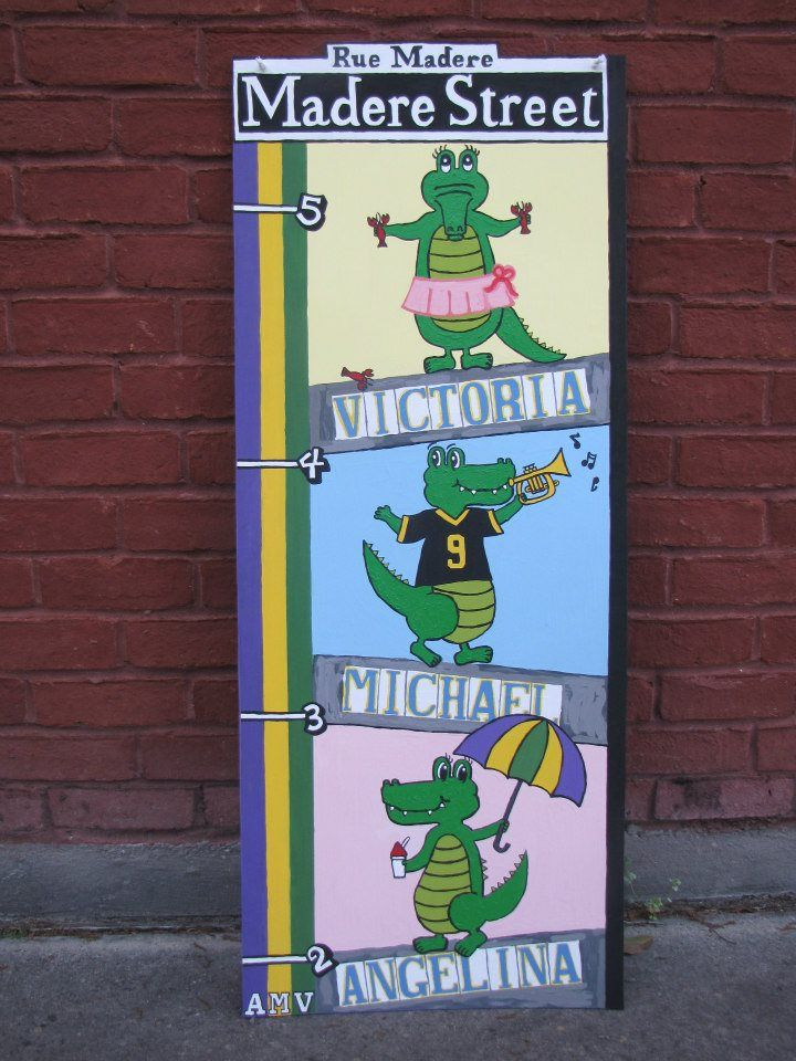New orleans alligator growth chart with mardi gras colors