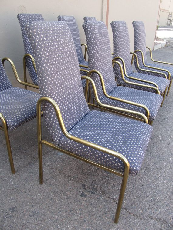 Charmant RARE Set Of 8 Brass Dining Chairs By Mastercraft * 1960s Hollywood Regency  Glam!