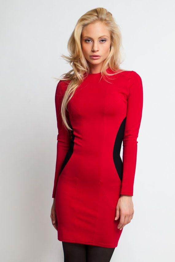 Little Red Dress Designer Clothing Short Dress Long by Modalllab