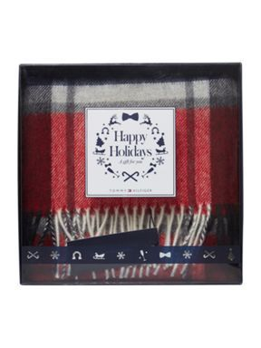 Tommy Hilfiger Zac check scarf in a box Red - House of Fraser
