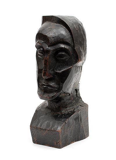 Hand-carved wooden head designer execution unknown Belgian School ca.1935