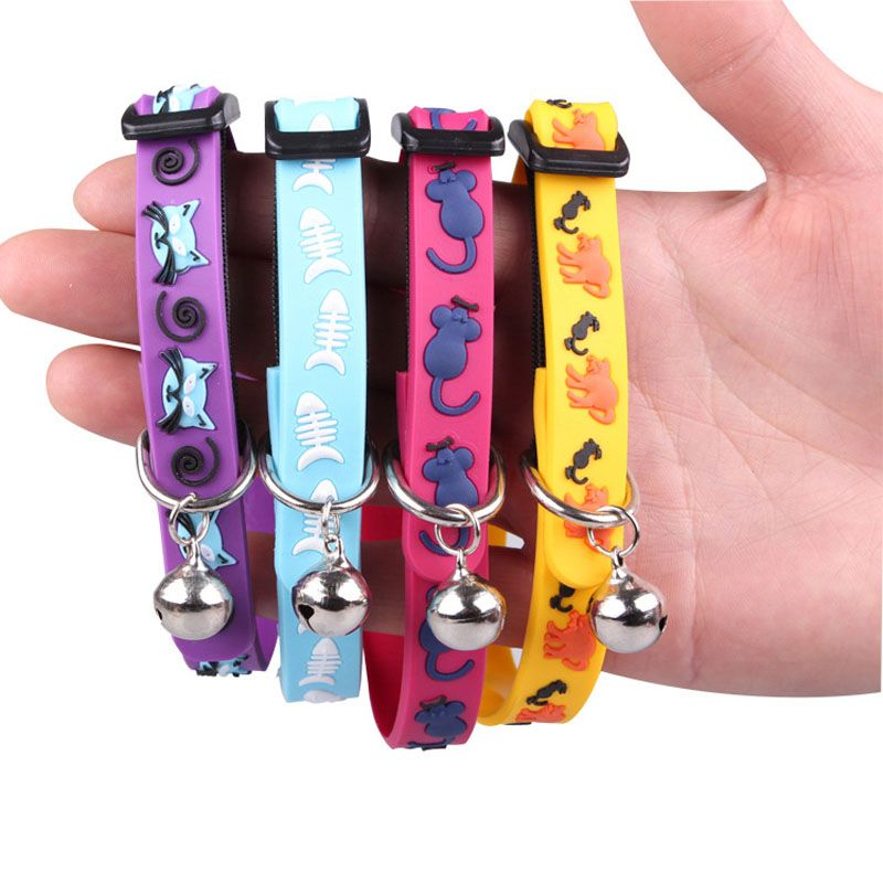 1 pcs Super Soft Silicone Dog Cat Collar with Bells Adjustable Elastic Collars For Small Medium Cats Kitten Puppy