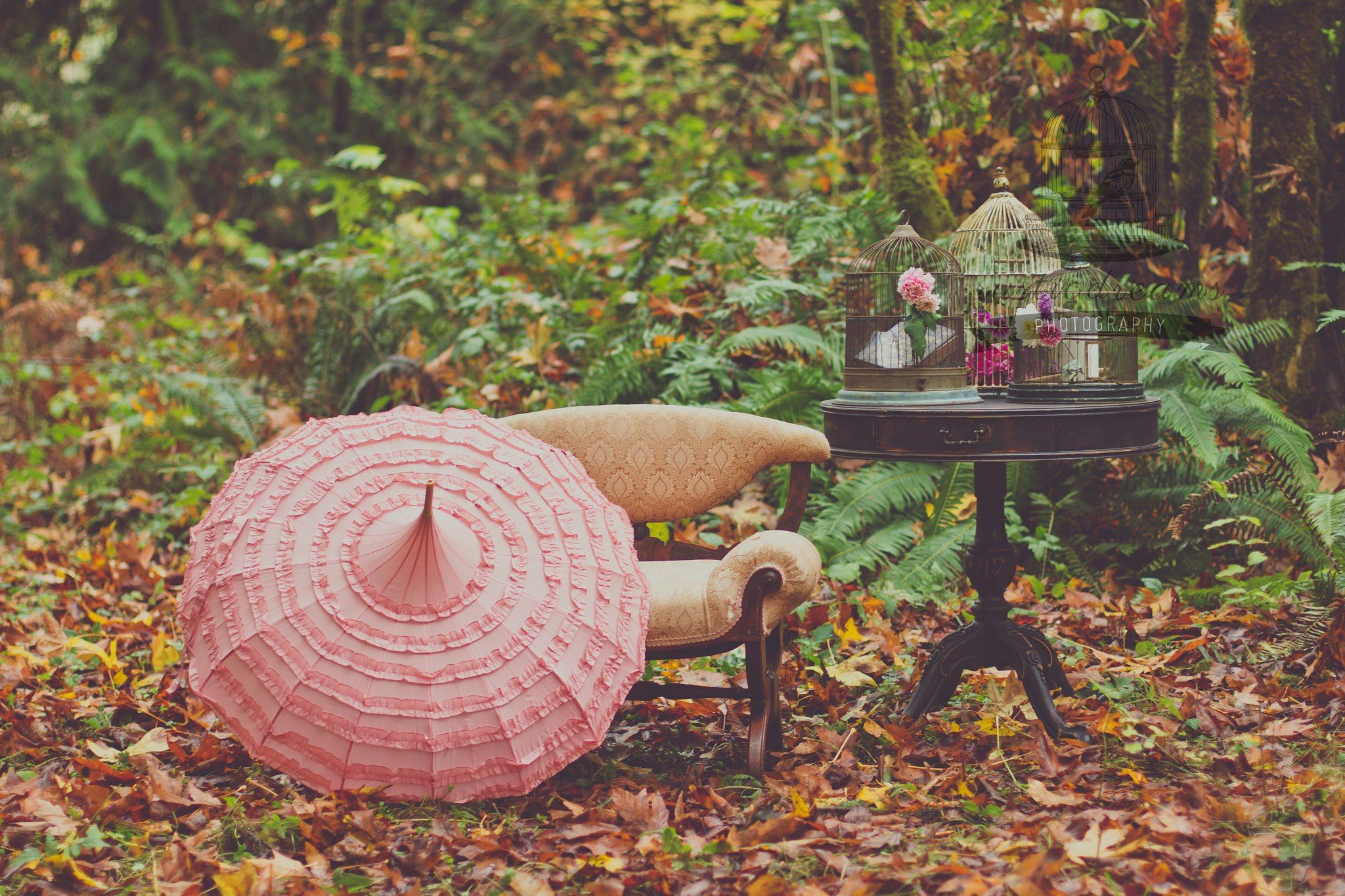 Lovely Events Fall 2012 Stylized Photo Shoot. Photography: Rustic Dreams, Decor Elements: Vintage Ambiance, Umbrella: Bella Umbrella, Stylist: Audra Goetz; Lovely Events.