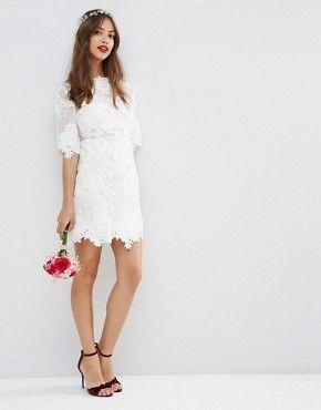 ASOS BRIDAL Lace Embroidered Mini Shift Dress