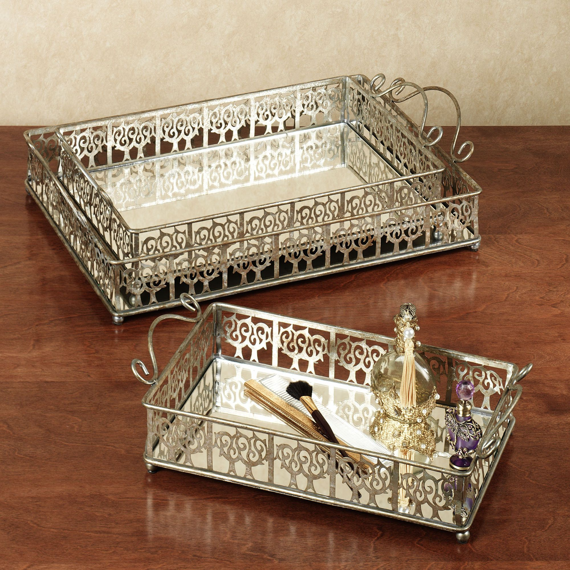 Antique vanity tray with lace insert - Vanity Trays Silver Vanity Tray