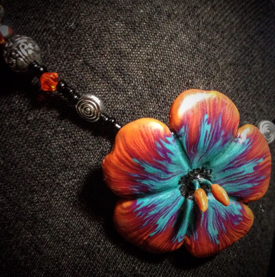 Polymer Clay Fire Passion Flower Necklace Flower Necklace Necklace Clay