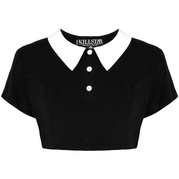 Killstar Addams Crop Top (Black) ($46) ❤ liked on Polyvore featuring tops, goth crop top, crop top, black top, gothic tops and goth top