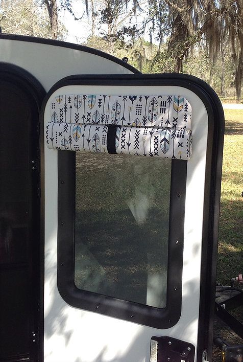 Photo of Insulating Camper Door Shade – Arrows & Feathers – Click to view more fabrics | Talona Rustics