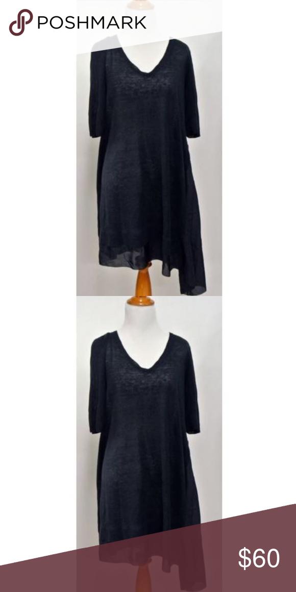 Eileen Fisher Habutai V Neck Tunic Dress Size M Eileen Fisher Navy Blue Linen Silk Jersey With Silk Habutai V Ne Eileen Fisher Dress Clothes Design Tunic Dress